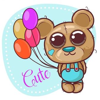 Tarjeta de felicitación lindo oso de peluche de dibujos animados con globos - vector