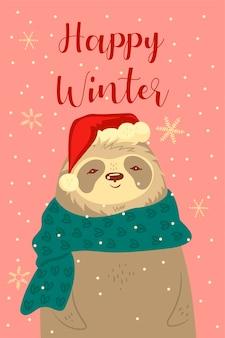 Tarjeta de felicitación con un lindo perezoso navideño.