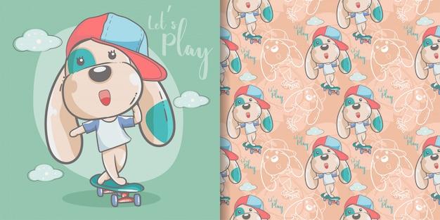 Tarjeta de felicitación lindo perro de dibujos animados con patrones sin fisuras