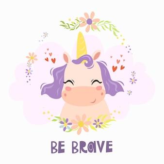 Tarjeta de felicitación con lindo personaje de unicornio y texto