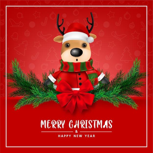Tarjeta de felicitación lindo reno sobre fondo rojo para feliz navidad y feliz año nuevo tarjeta ilustración vectorial