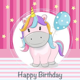 Tarjeta de felicitación lindo unicornio con globos