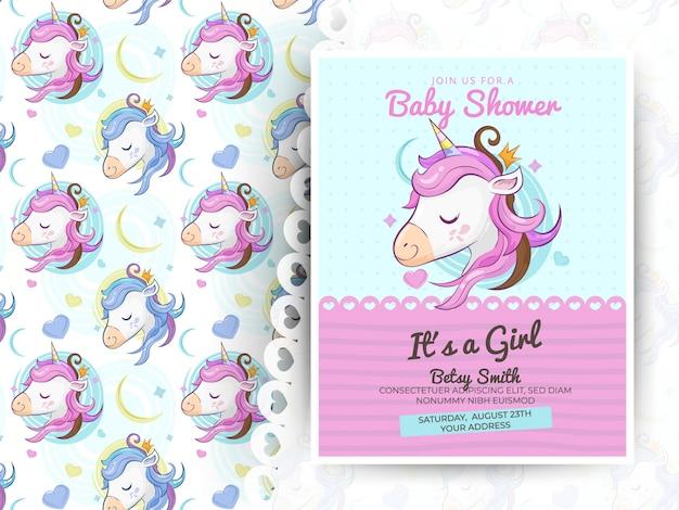 Tarjeta de felicitación lindo unicornio con patrón