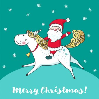 Tarjeta de felicitación con lindo unicornio y santa claus.
