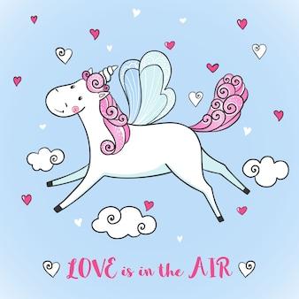 Tarjeta de felicitación con lindo unicornio.