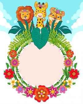 Tarjeta de felicitación de lindos animales y flores.