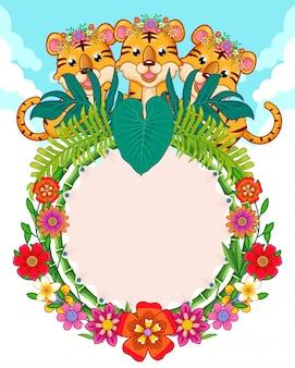 Tarjeta de felicitación de lindos tigres y flores.
