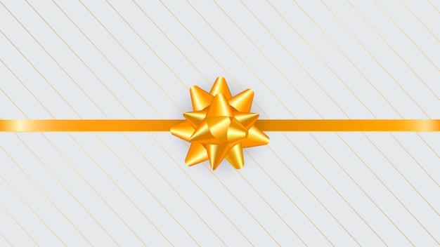 Tarjeta de felicitación de lujo con arco de regalo dorado, cinta y línea.