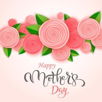 Tarjeta de felicitación manuscrita de las letras del día de madre con las flores