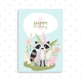 Tarjeta de felicitación con mapache de dibujos animados lindo. tarjeta de feliz cumpleaños