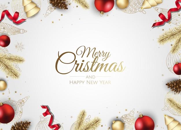 Tarjeta de felicitación de marco dorado adornos navideños
