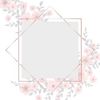 Tarjeta de felicitación con marco de flores de color rosa claro