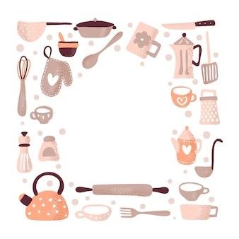 Tarjeta de felicitación de marco con lugar para el texto para la cocina del blog de alimentos.