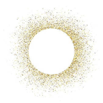 Tarjeta de felicitación con marco redondo blanco sobre fondo dorado brillo. fondo blanco vacío. ilustración vectorial.