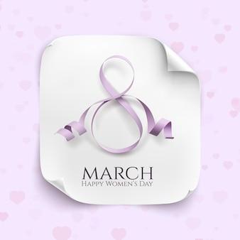 Tarjeta de felicitación de marzo. plantilla de fondo para el día internacional de la mujer. banner de papel curvo blanco