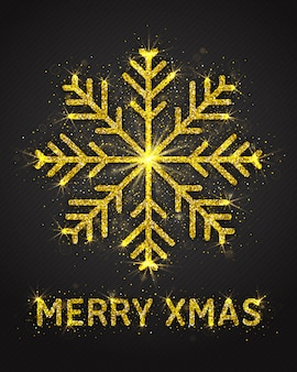 Tarjeta de felicitación merry xmas de golden sparkling glitter snowflake