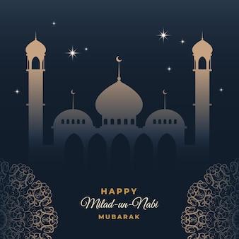 Tarjeta de felicitación milad-un-nabi cielo sobre mezquita