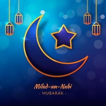 Tarjeta de felicitación milad-un-nabi luna y estrella