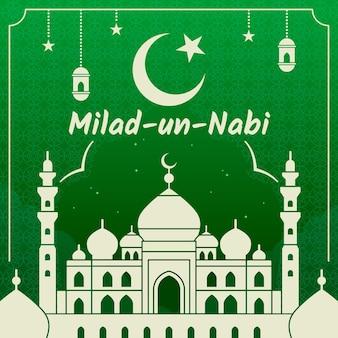 Tarjeta de felicitación milad-un-nabi mezquita blanca