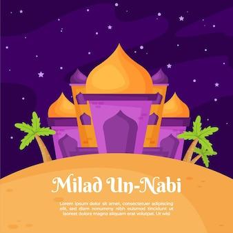 Tarjeta de felicitación milad-un-nabi mezquita y palmeras
