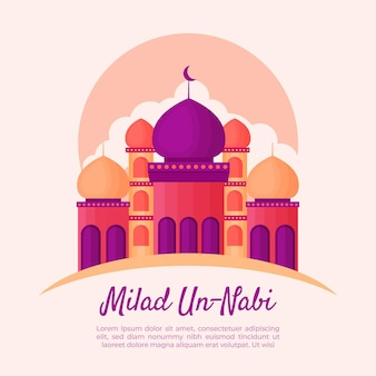 Tarjeta de felicitación milad-un-nabi con mezquita