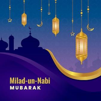 Tarjeta de felicitación milad-un-nabi silueta de mezquita