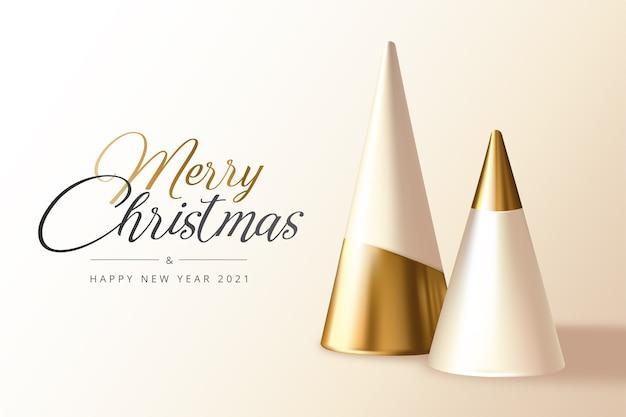 Tarjeta de felicitación mínima de navidad y año nuevo con árboles de navidad realistas