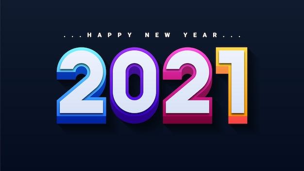 Tarjeta de felicitación moderna feliz año nuevo 2021