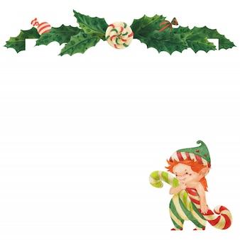 Tarjeta de felicitación de navidad con acebo y duende con bastones de caramelo