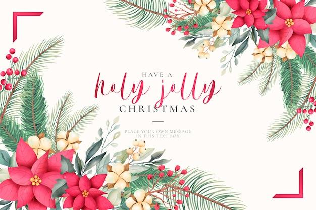 Tarjeta de felicitación de navidad acuarela con naturaleza encantadora