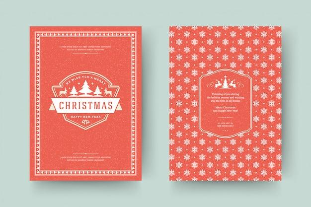 Tarjeta de felicitación de navidad adornada con símbolos de decoración con deseo de vacaciones