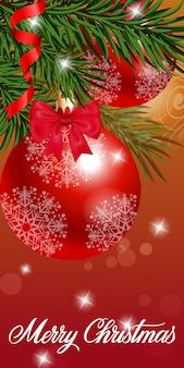 Tarjeta de felicitación de navidad con adornos