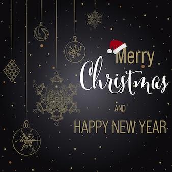 Tarjeta de felicitación de navidad y año nuevo fondo negro con letras