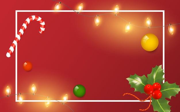 Tarjeta de felicitación de navidad y año nuevo con marco de luces y juguetes sobre fondo rojo cartel de invierno