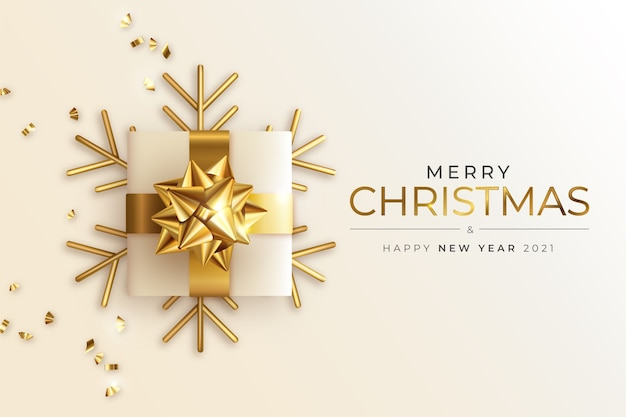 Tarjeta de felicitación de navidad y año nuevo con regalo dorado realista
