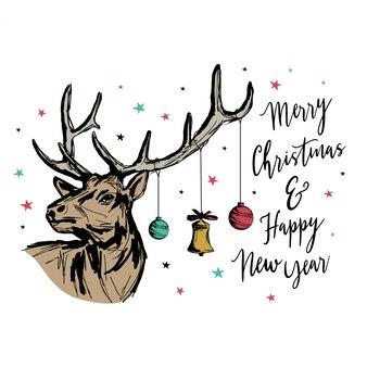 Tarjeta de felicitación de navidad y año nuevo con renos