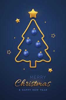 Tarjeta de felicitación de navidad con árbol de navidad metálico dorado, adorno de bolas azules y estrellas doradas