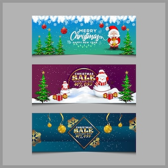 Tarjeta de felicitación de navidad y banner de venta