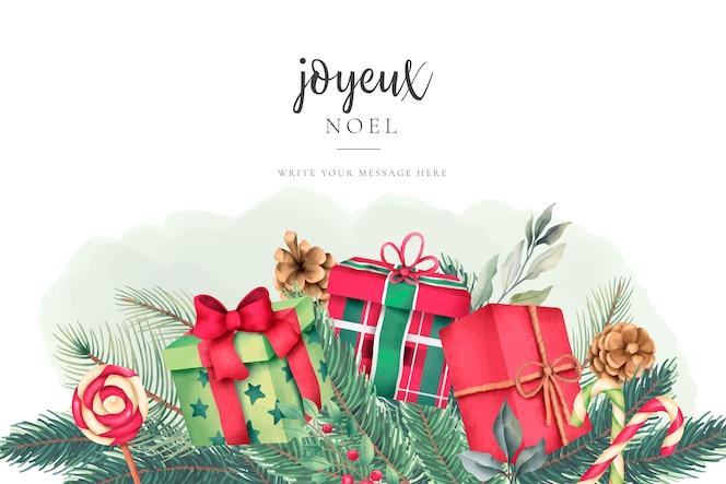 Tarjeta de felicitación de navidad con bonitos regalos de acuarela
