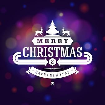 Tarjeta de felicitación de navidad borrosa luz