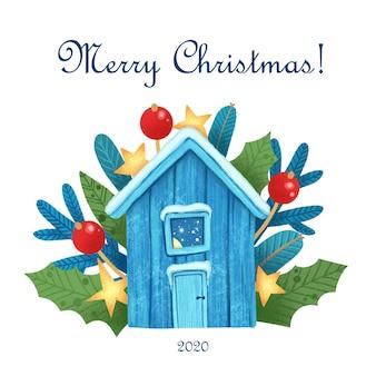 Tarjeta de felicitación de navidad con casa mágica en la noche