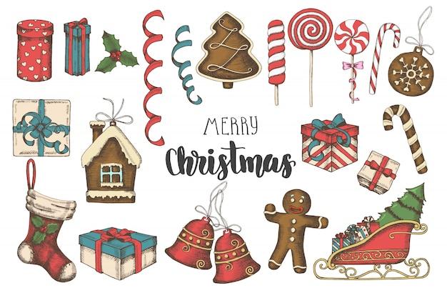 Tarjeta de felicitación de navidad conjunto de objetos dibujados a mano multicolores.