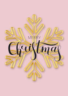 Tarjeta de felicitación de navidad con copo de nieve dorado sobre un fondo vertical rosa