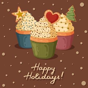 Tarjeta de felicitación de navidad con cupcakes