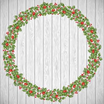 Tarjeta de felicitación de navidad. decoración festiva sobre un fondo de madera rústica. corona de vacaciones y también incluye