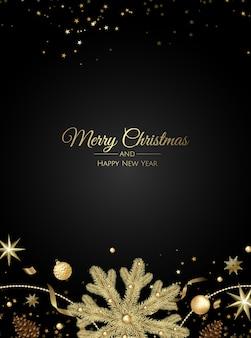 Tarjeta de felicitación de navidad con decoraciones para árboles de navidad