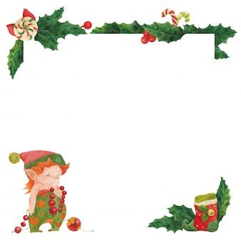 Tarjeta de felicitación de navidad con decorador de año nuevo de acebo y duende