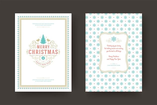 Tarjeta de felicitación de navidad diseño tipográfico vintage símbolos de decoración ornamentada con deseo de vacaciones de invierno