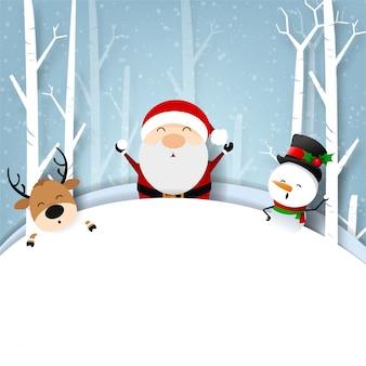 Tarjeta de felicitación de navidad divertida, con santa claus y muñeco de nieve felicidad con copo de nieve, ilustración vectorial.
