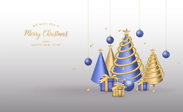 Tarjeta de felicitación de navidad con elementos decorativos realistas ligeros fondo de navidad